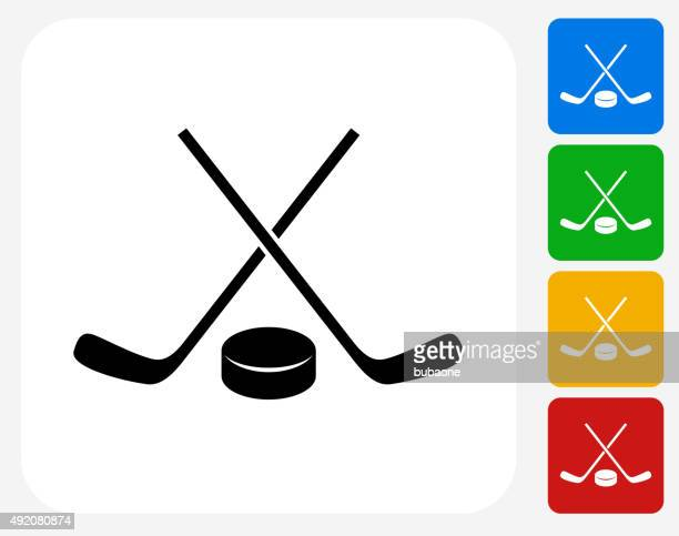 hockey stick and puck icon flat graphic design - ice hockey stock illustrations