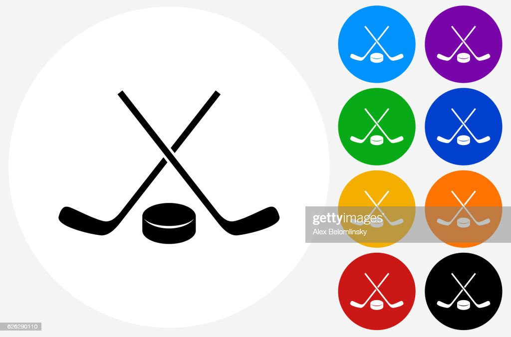 Hockey Stick and Puck Icon on Flat Color Circle Buttons