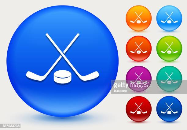 Hockey Stick and Puck Icon on Shiny Color Circle Buttons