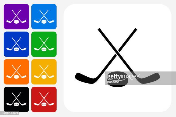 hockey stick and puck icon square button set - hockey stock illustrations, clip art, cartoons, & icons