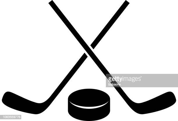 Hockey Stick and Puck Icon with Long Shadow