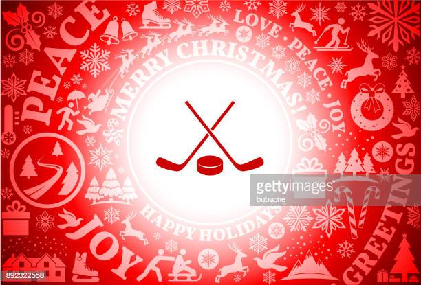 hockey stick and puck red christmas holiday background - hockey stick stock illustrations