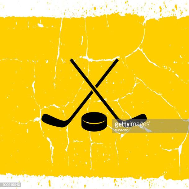hockey stick and puck. - hockey stock illustrations, clip art, cartoons, & icons