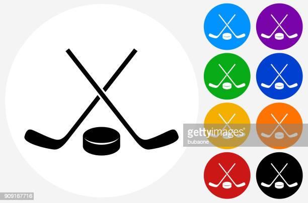hockey stick and puck. - hockey stick stock illustrations