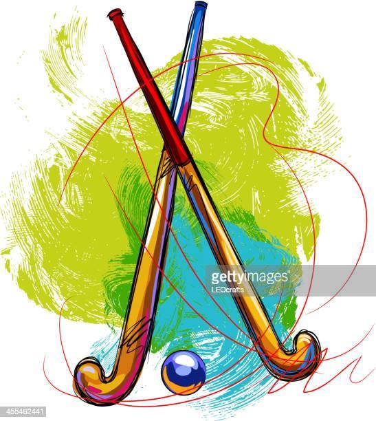 ilustraciones, imágenes clip art, dibujos animados e iconos de stock de palitos de hockey y de bola - hockey sobre hierba