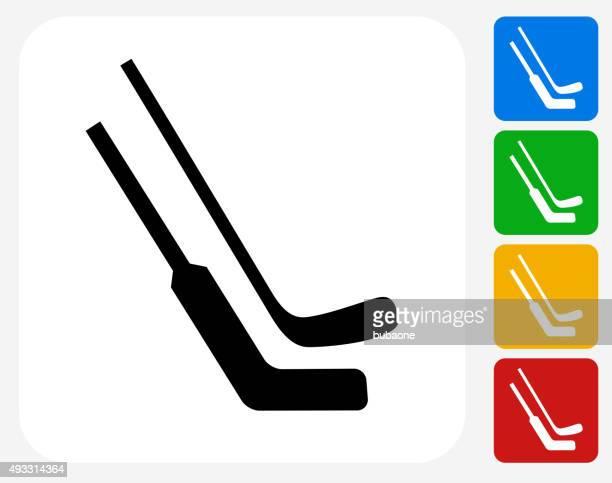 hockey sticks icon flat graphic design - hockey stick stock illustrations