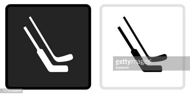 ホワイトロールオーバーの黒いボタンにホッケースティックアイコン - ホッケースティック点のイラスト素材/クリップアート素材/マンガ素材/アイコン素材