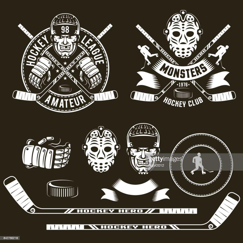Hockey symbols, player  head, goalie mask