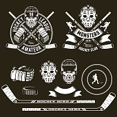 Hockey symbols, player  head, goalie mask