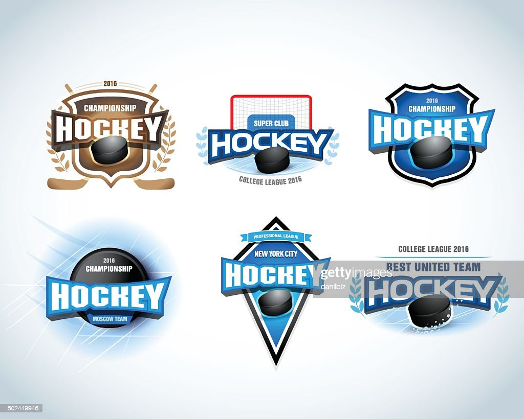 Hockey team emblems set. Hockey tournament, championship badges.