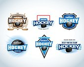 Hockey team emblems set. Hockey tournament, championship badges.