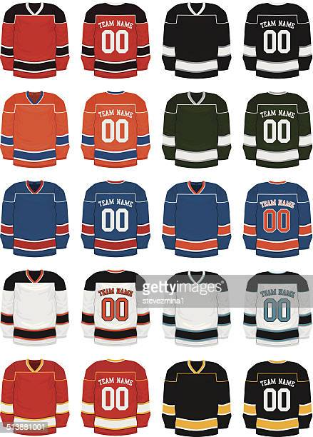 hockey uniforms - sports jersey stock illustrations