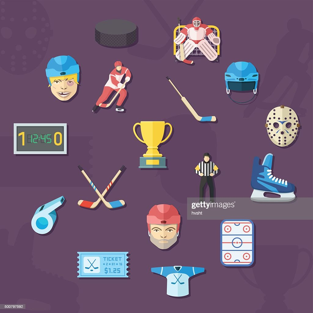 Hockey vector icons set. Flat style.
