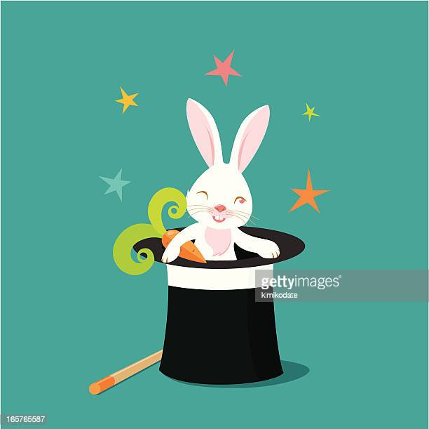 hocus-pocus rabbit - magician stock illustrations, clip art, cartoons, & icons