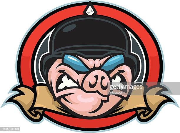 hog head mascot - motorcycle rider stock illustrations, clip art, cartoons, & icons