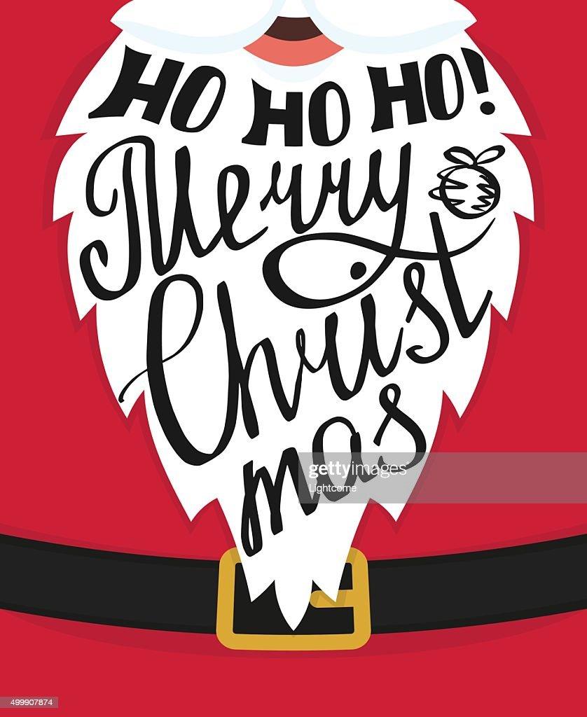 Ho Ho Ho Frohe Weihnachten.Hohoho Frohe Weihnachten Grusskarte Mit Vorlage Design Stock