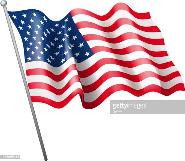 Hoisted United States flag in white background