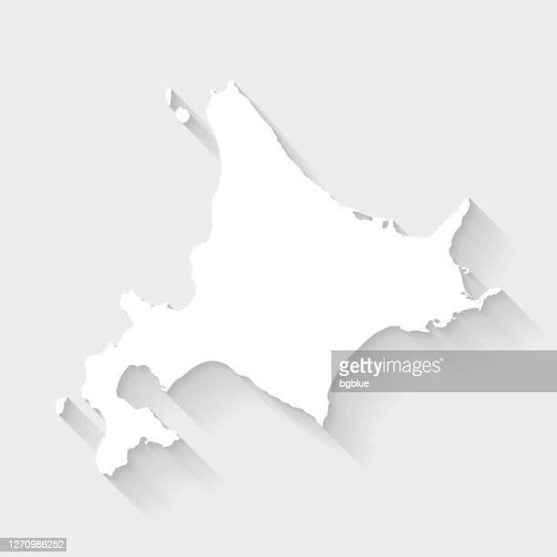 hokkaido map with long shadow on blank background - flat design - hokkaido stock illustrations