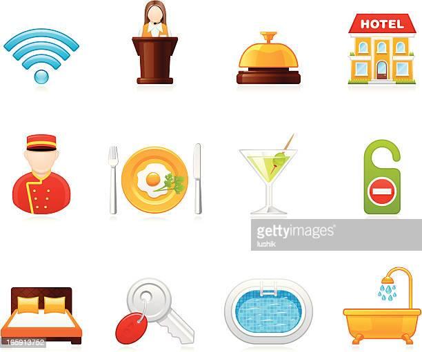 hola icons - hotel - social grace stock illustrations, clip art, cartoons, & icons