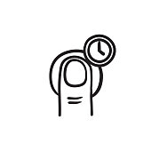 Hold timer gesture sketch icon