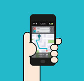 Holding a Smartphone with Map interface