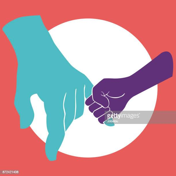 holding father's hand - parent stock illustrations