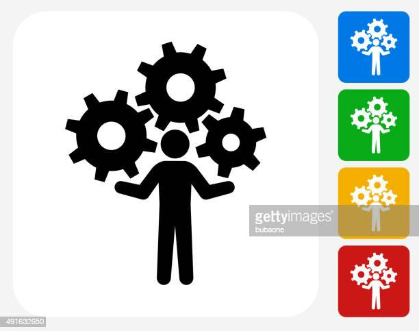 holding gears icon flat graphic design - juggling stock illustrations, clip art, cartoons, & icons