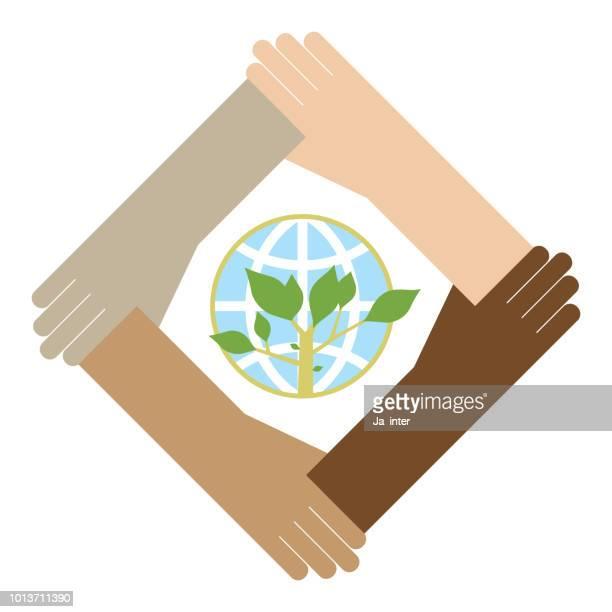 Holding green globe