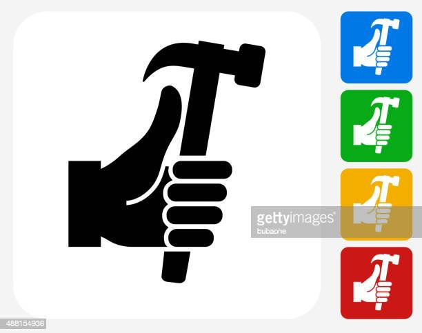 Holding Hammer Icon Flat Graphic Design