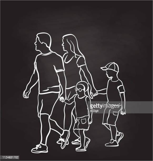 ilustraciones, imágenes clip art, dibujos animados e iconos de stock de cogidos de la mano para cruzar la pizarra - madre e hija