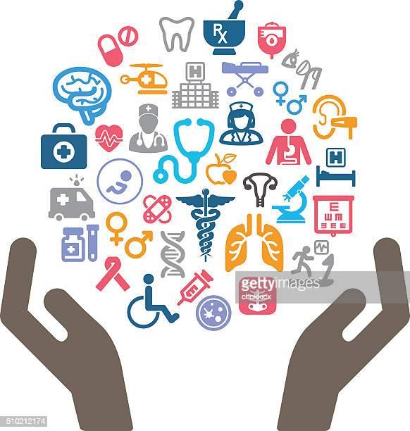 ilustrações, clipart, desenhos animados e ícones de segurando o conceito de saúde - símbolo médico