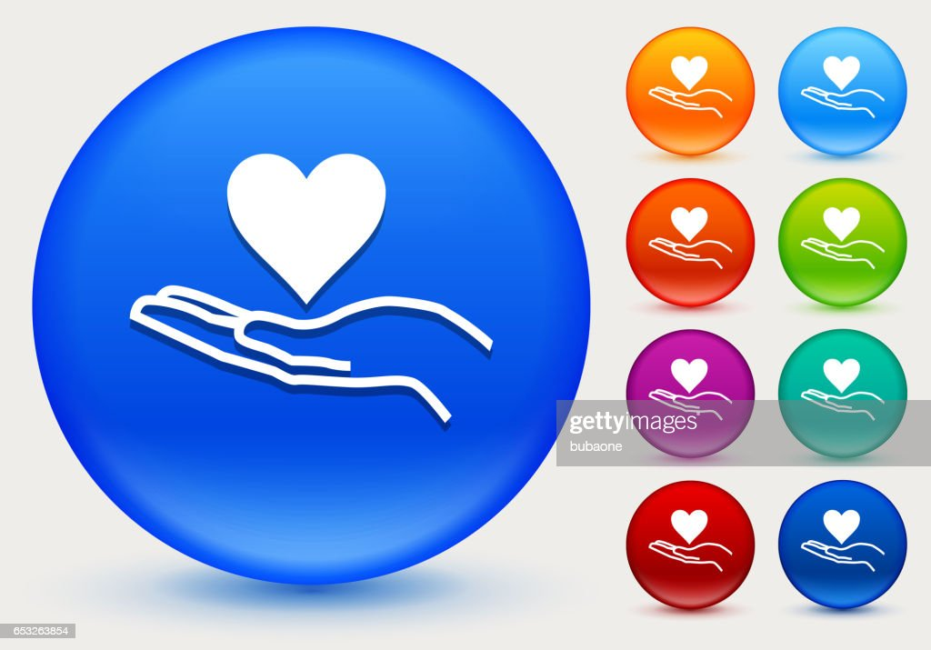 Holding Heart Icon on Shiny Color Circle Buttons : Vector Art