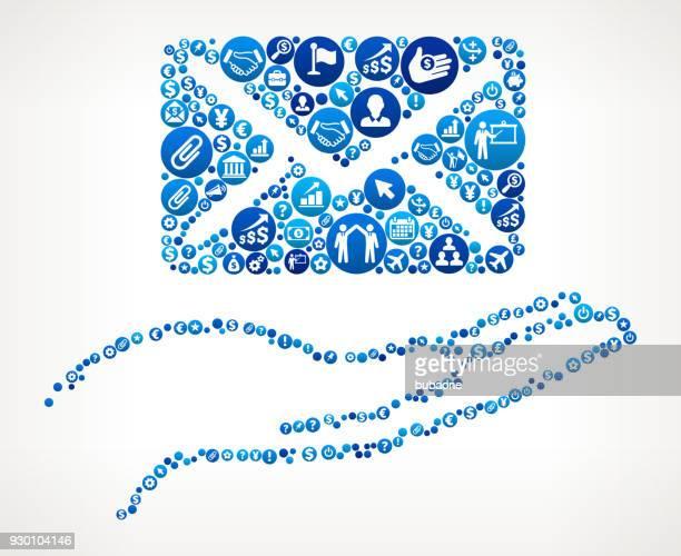 stockillustraties, clipart, cartoons en iconen met holding brief business en financiën blauwe pictogram patroon - e mail