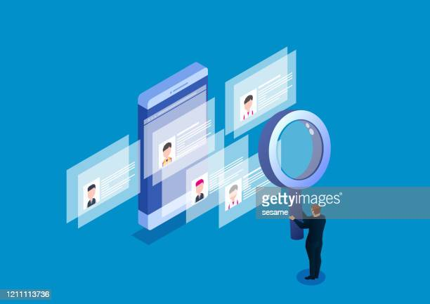 holding magnifying glass searching human resources resume - candidate stock illustrations