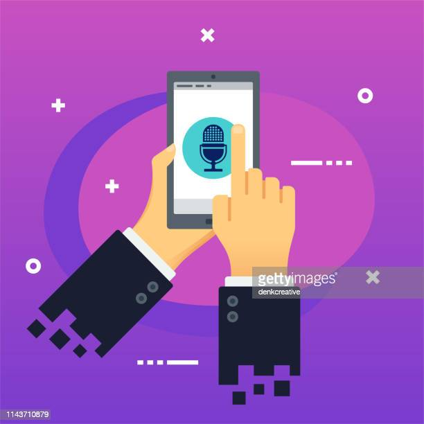 holding mobile phone with broadcasting media icon on screen - blank screen stock illustrations, clip art, cartoons, & icons