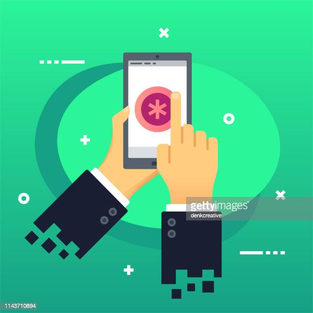 holding mobile phone with health care tracker icon on screen - fitness tracker stock illustrations, clip art, cartoons, & icons