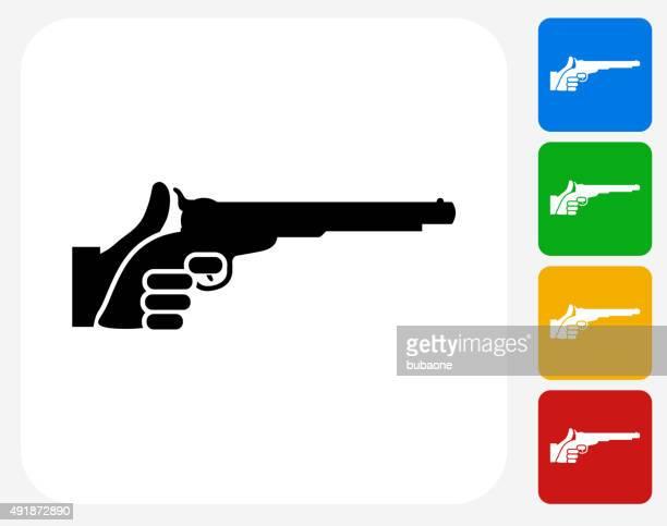Holding Pistol Icon Flat Graphic Design