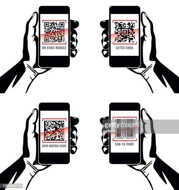 illustrations, cliparts, dessins animés et icônes de tenue d'application portable avec plusieurs code barre - vendre