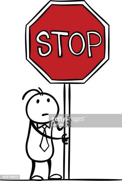 illustrations, cliparts, dessins animés et icônes de tenant le panneau d'arrêt - panneau stop
