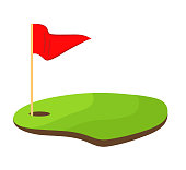 hole golf with red flag stock vector illustration design