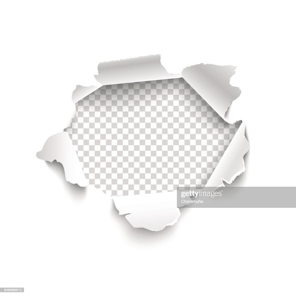 Hole in white paper. Vector torn paper.