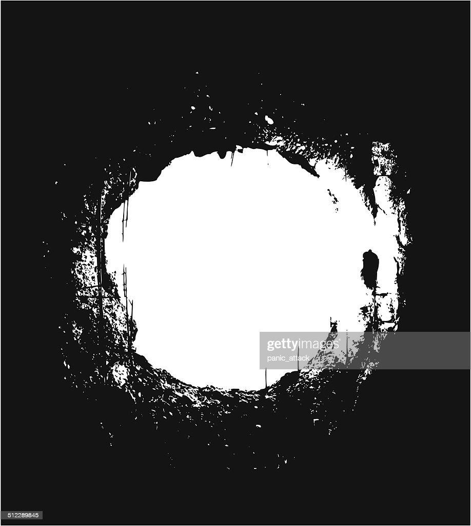 Hole over black background