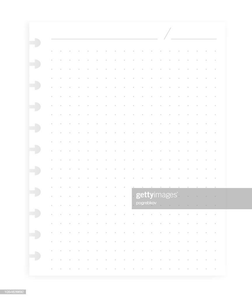 Hole punched filler paper sheet for disc binder, realistic vector mockup