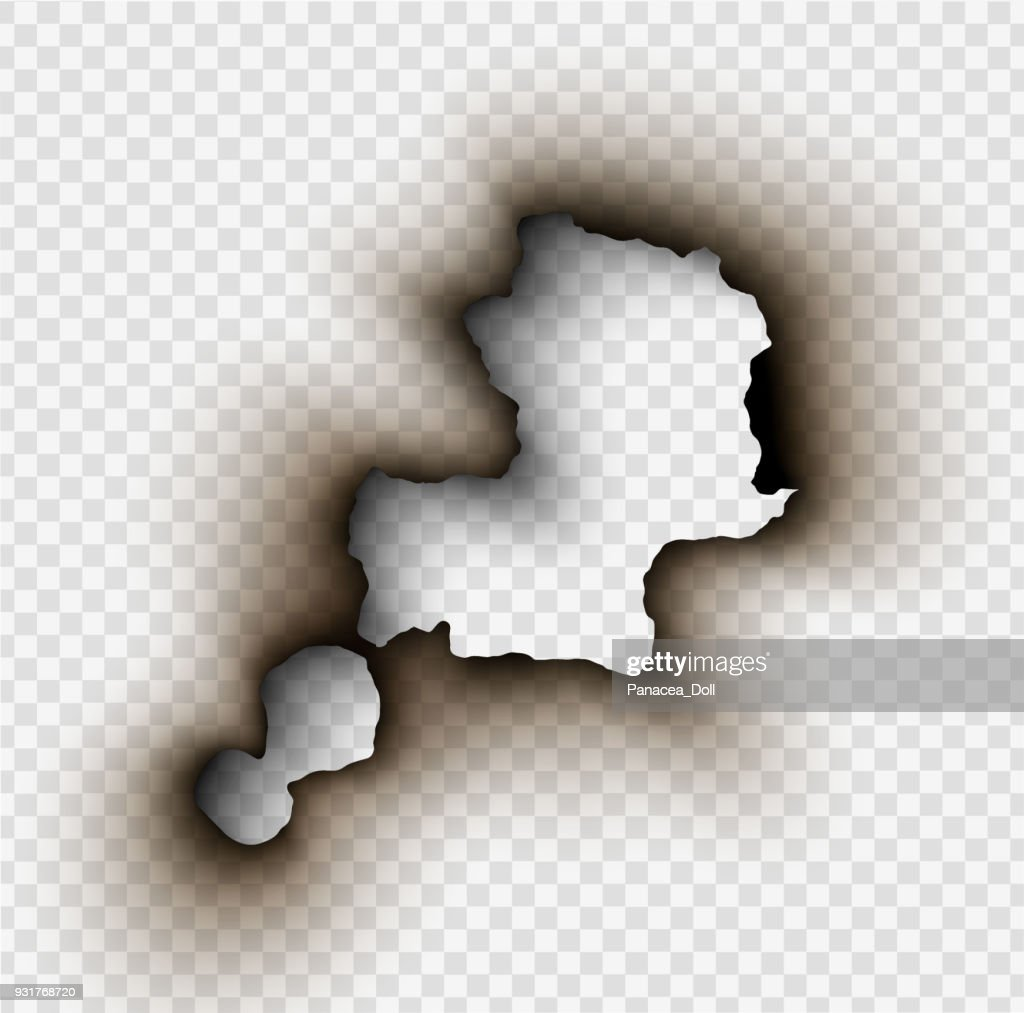 Hole torn in ripped paper with burnt and flame on transparent background