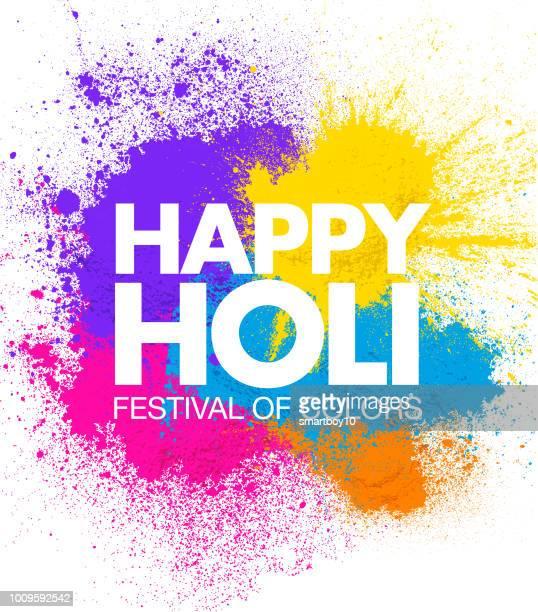 holi celebration card or poster - powder paint stock illustrations