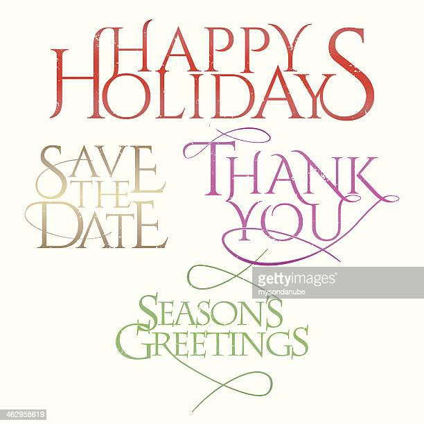 ilustraciones, imágenes clip art, dibujos animados e iconos de stock de días festivos y celebraciones letterings - gracias