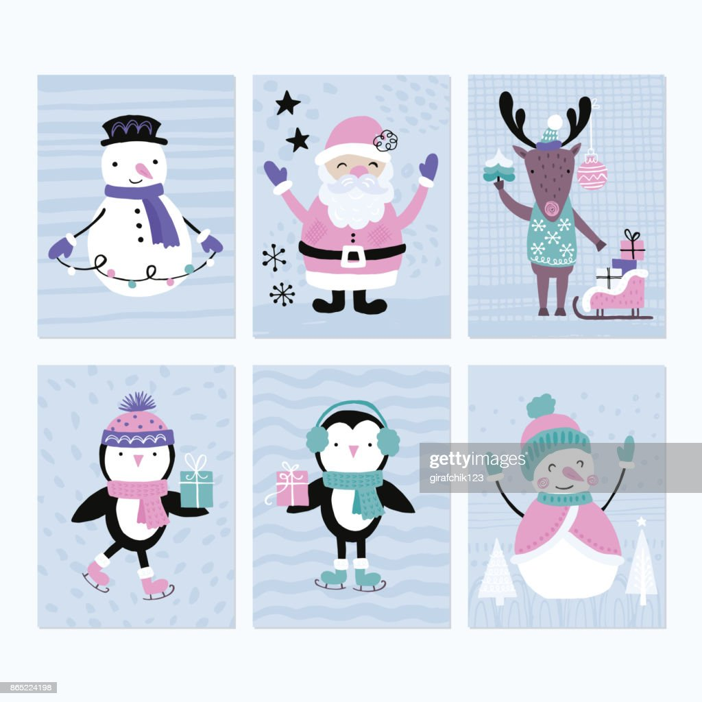 Holiday and Christmas hand drawing greeting card set