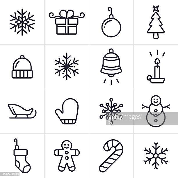 holiday and christmas icons and symbols - dental floss stock illustrations