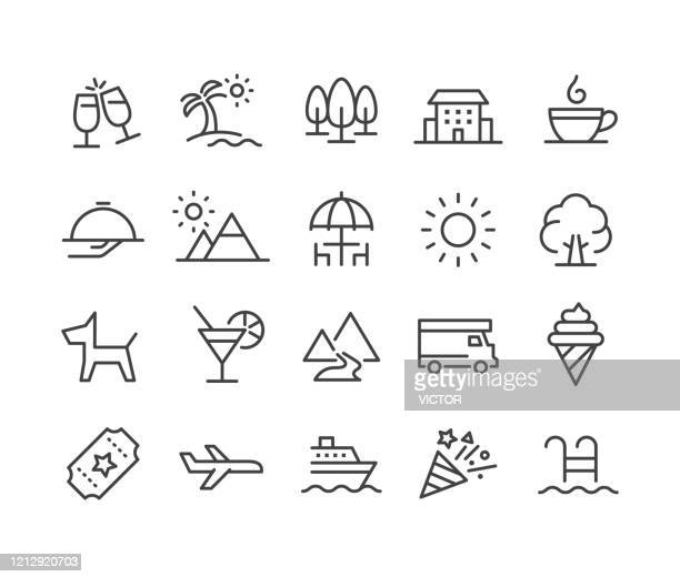 holiday and summer icons - classic line series - parasol stock illustrations