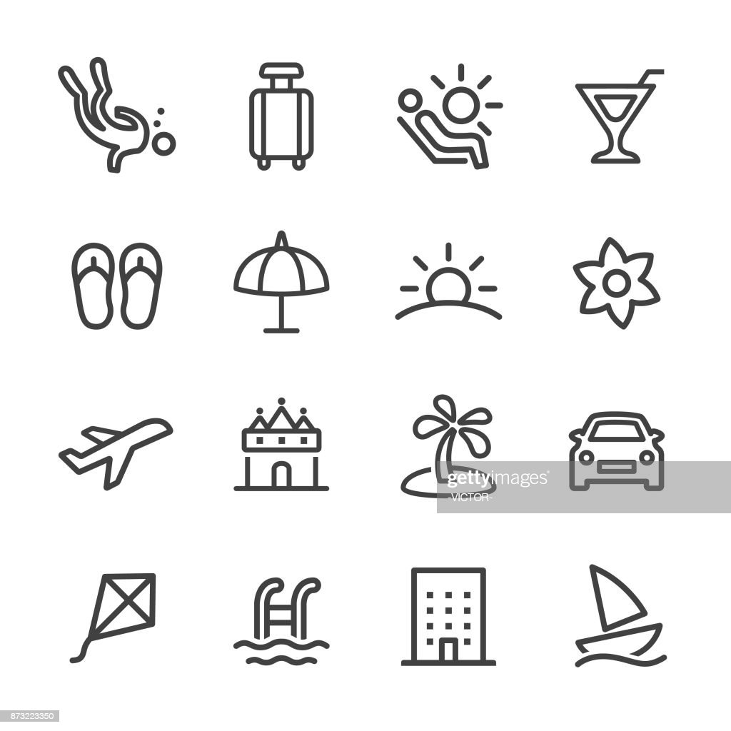 Holiday and Summer Icons - Line Series : stock illustration